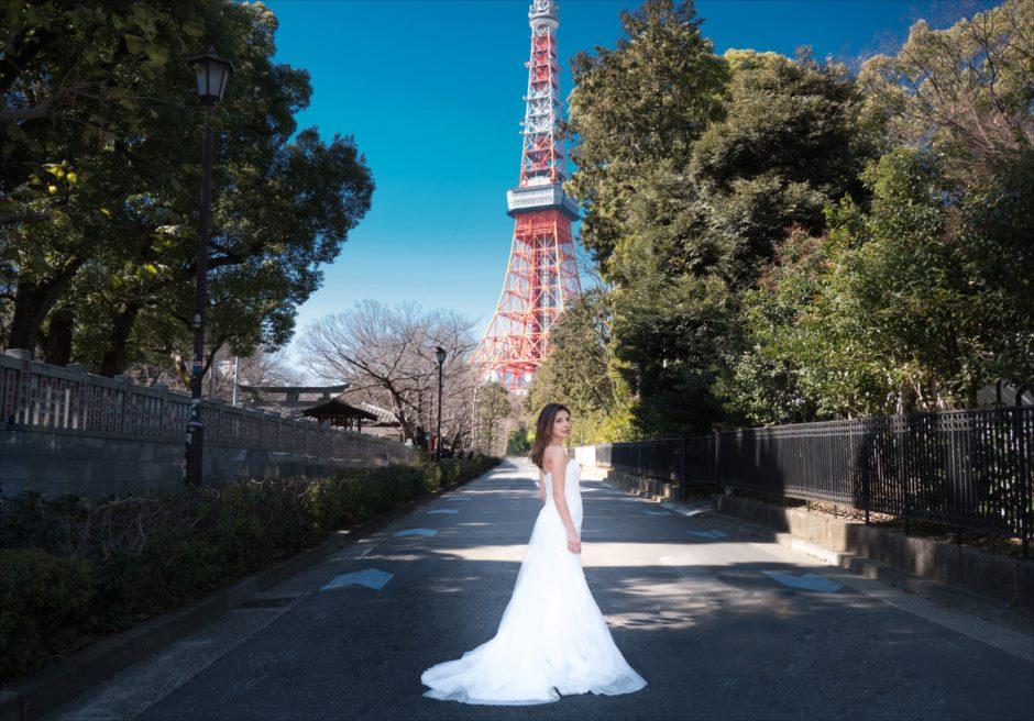 東京前撮り 東京タワー 新婦ソロ